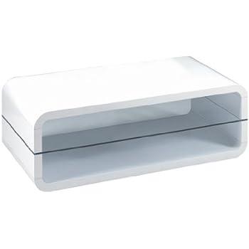 Presto Mobilia 10947 Couchtisch Wohnzimmertisch TV Rack Tisch Ovalis 08 120 X 60 40 Cm Hochglanzend Weiss
