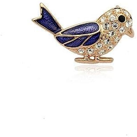 FPP Creativo splendidamente intarsiato di diamanti austriaco spilla Uccello , blue