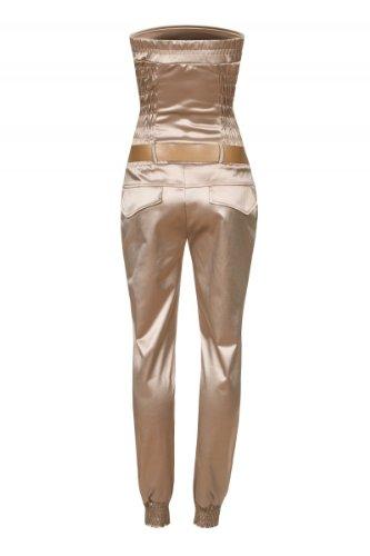 Laeticia Dreams Damen Jumpsuit Overall Bustier Sommer Lang S M L XL Beige Glanz