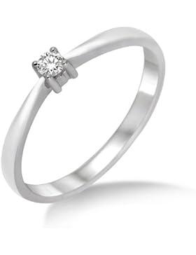 Miore Damen-Ring 375 Weißgold mit Brillant 0.05ct M9014R