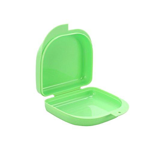 ROSENICE Custodia per Bite Contenitore per mettere in ammollo dentiere con fori di sfiato e coperchio (Verde)