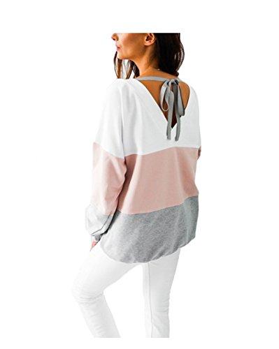 Aitos Kapuzenpullover Damen Hoodie Sweatshirt Top Streifen Hipster Mode Lässige Herbst Winter (Schwarz,Rot, Grau, Blau/S,M,L,XL,XXL) 2