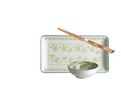Domestic by Mäser 931023 série Palma, Sushi - Service 18 pièces, rectangulaire, pour 6 Personnes, dans la Couleur Porcelaine, Vert, 43 x 30 x 20 CM, 18 unités