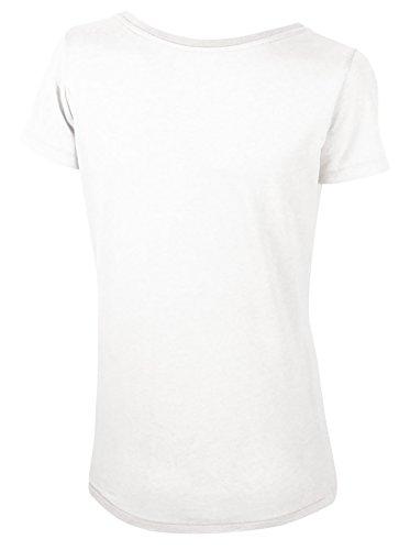 Lara Modal, Damen T-Shirt aus 50% Bio-Baumwolle und 50% Modal mit weitem Ausschnitt Weiß