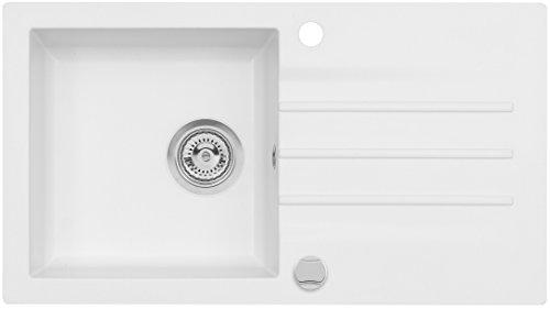 AXIS KITCHEN Mojito 40 Küchenspüle Farbe Axis Weiss Material Axigranit 50er Unterschrank Spülbecken Siphon, Exzenterbedienung