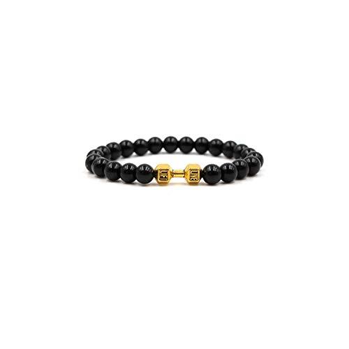 Edelstein Perlen Armband New Men Bracelet 8Mm Black Stone Lion Headed Classic Stone Bead Bracelet for Men and Women Jewelry Gift 14