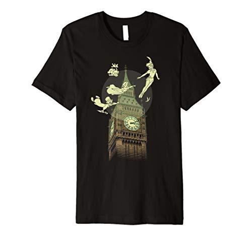 Disney Peter Pan The Darlings Flying By Clock Tower T-Shirt - Shirt Disney Peter Pan