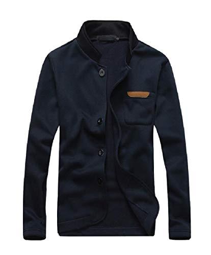 CuteRose Men's Long Sleeve Sweatshirts Cotton Pure Color Jackets Coats Navy Blue XL (Mens Winter Coats Big And Tall)