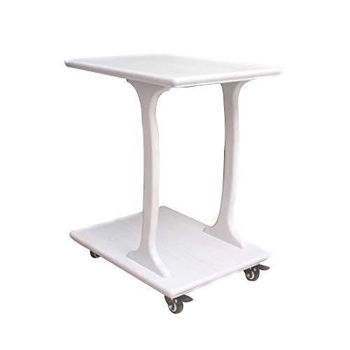 Bseack Tabelle Beistelltisch, doppelstöckiger Nachttisch Typ C mit Rollen Akzenttisch Mobiler Kleiner Couchtisch im Wohnzimmer für das Bettsofa (Farbe : Weiß, größe : 23.2 * 15.2 * 24 in)