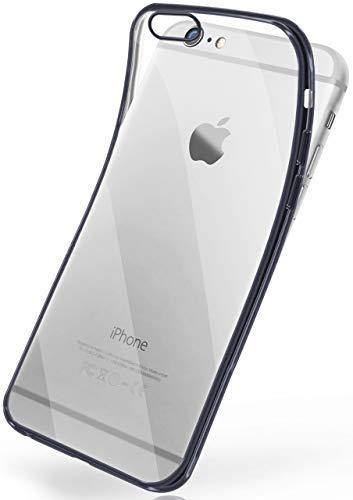 moex iPhone 6S Plus | Hülle Silikon Transparent Anthrazit Chrom Back-Cover Silikonhülle Dünn Schutzhülle Handyhülle für iPhone 6 Plus / 6S + Plus Case Ultra-Slim Tasche TPU