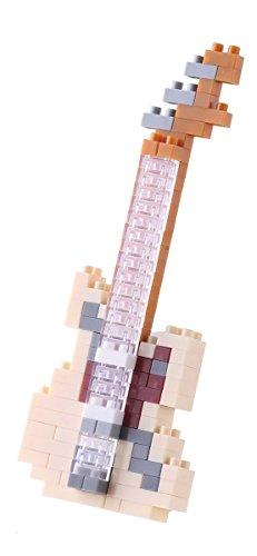 nanoblock NBC-14 - Electric Guitar Ivory / E-Gitarre Elfenbein, Minibaustein 3D-Puzzle, Mini Collection Serie, 130 Teile, Schwierigkeitsstufe 2, mittel