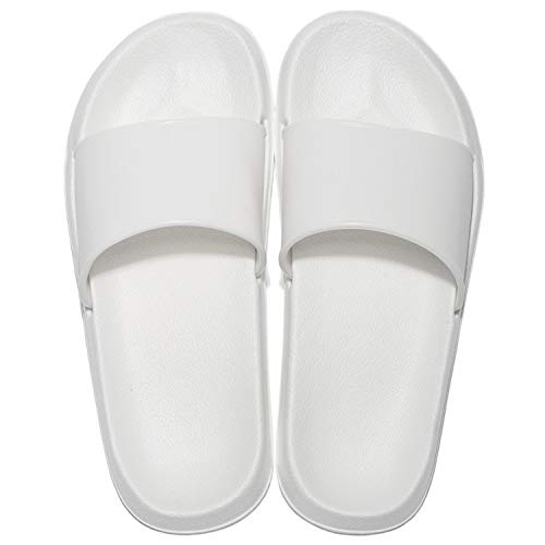 MAYI Damen Badelatschen rutschfeste Dusch-& Badeschuhe Leichte Saunaschuhe Frauen Pantoletten wasserdichte Strand Sandalen (42/43 EU, Weiß)