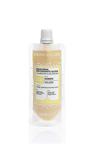 HAIRMED - Cura e Colore - Maschera Riflessante Capelli - Bagno di Colore Senza Ammoniaca - Gloss C3 - Dorato - 40 ml