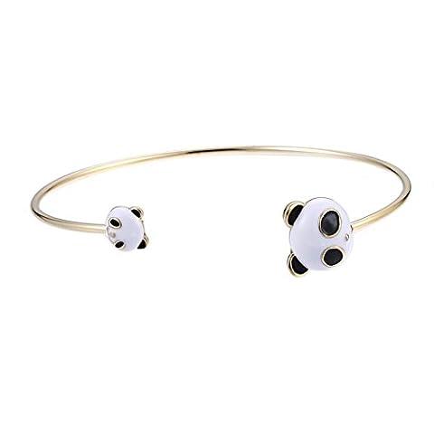 Lureme Charmant Or Tone Cuff Bracelet Panda Head in The End pour les femmes et les filles (bl003264)