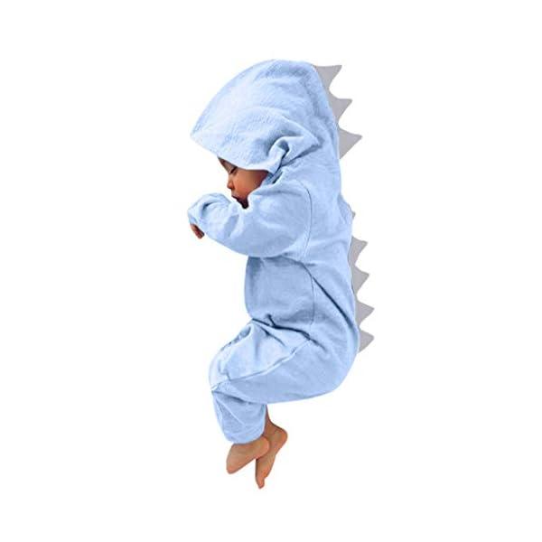 MAYOGO Body Bebé Dinosaurio Trajes con Capucha Mameluco Niño Recién Nacido Invierno Bodis Manga Largo Niña Bebe Disfraz… 3