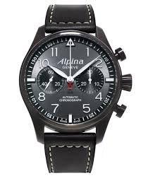 Alpina Alpina Startimer Pilot Chronograph Grau Zifferblatt Leder Mens Watch AL-860GB4FBS6