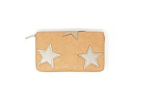 Damen Geldbörse Geldbeutel Portemonnaie Wallet Etui Clutch Stern beige camel gold (8051)