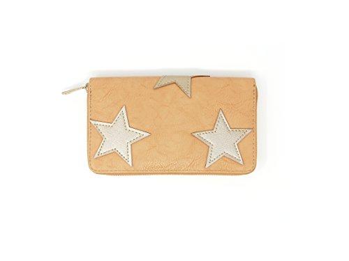 Damen-Geldbrse-Geldbeutel-Portemonnaie-Wallet-Etui-Clutch-Stern-beige-camel-gold-8051