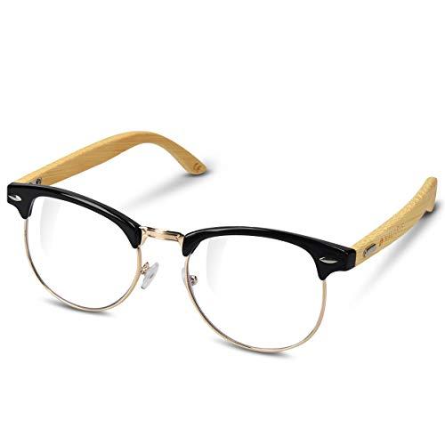 Navaris Retro Brille ohne Sehstärke - Damen Herren 50er Nerd Brille - Anti Blaulicht Computer Brillen - Nerdbrille ohne Stärke mit Bambus Bügeln
