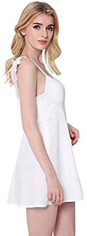 Jeansian Femme Vetement Sans Manches Robe Women's Angel Wings Strap Backless Night Party Mini Dress Summer Sleeveless Dresses WHW015 White M