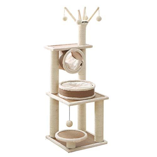 Zfggd Katzen Klettergerüst Baum Katze Eigentumswohnungen 3 Schicht 120 cm Katzenspielzeug Haus Bett Hängende Kugeln Kätzchen Möbel Kratzer (Katze-häuser & Eigentumswohnungen)