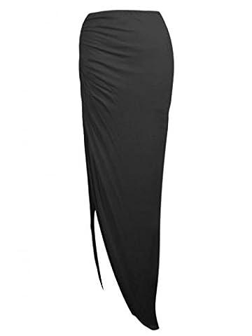 Ladies Ruched Side Split Slit Long Maxi Skirt Dress Size 8-14 UK (S/M (8-10 UK), Black)