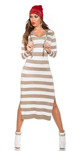 KouCla Feinstrick Maxikleid mit Streifen - Strickkleid Longpulli im Stripes Look mit Hoodie Kapuze (Taupe)