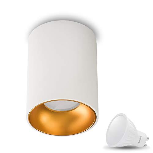 Aufbauleuchte Deckenleuchte Aufputz ASTRAL (Rund, Weiss/Gold) Inkl. 1 x 7W LED Warmweiss GU10 Fassung 230V Deckenleuchte Strahler Deckenlampe Würfelleuchte CUBE Kronleuchter aus Aluminium Spot