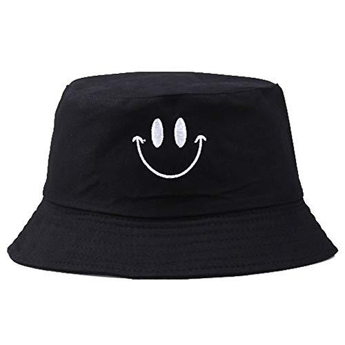 Imagen de unisex del casquillo del sombrero del cubo del bordado pescador de algodón patrón de la sonrisa del casquillo de sun plegable sombrero al aire libre para las mujeres de los hombres