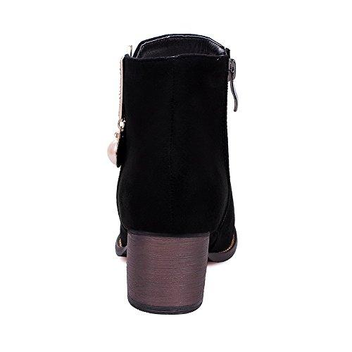 AllhqFashion Damen Rein Mattglasbirne Reißverschluss Rund Zehe Stiefel mit Juwelen Schwarz