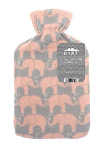 Bolsa de agua caliente con bolsa de agua caliente de 2 litros de caucho natural con hermosa funda suave (estampado de elefante múltiple)