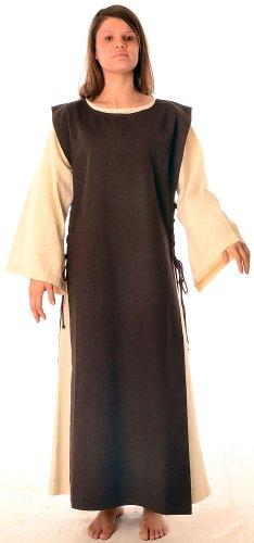 HEMAD Damen Mittelalter Kleid naturbeige mit Skapulier S-XL -