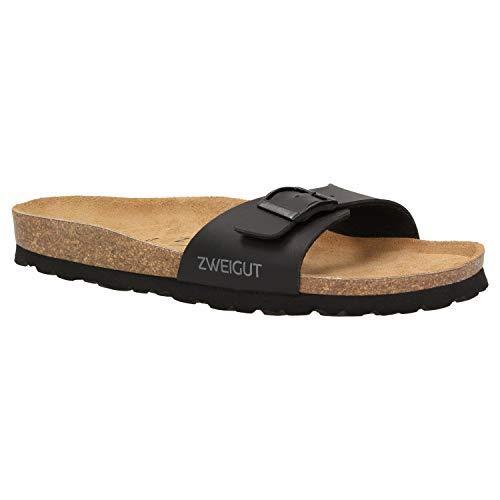 Zweigut® luftig #551 Damen 1- Riemen Sandalen Schuhe Sommer mit Soft Leder-Komfort-Fußbett, Schuhgröße:36, Farbe:schwarz matt -
