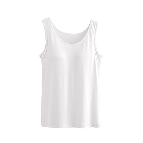 Vertvie Damen Tank Top Cami U-Ausschnitt Miedertop Unterhemd BH Hemd Weiß