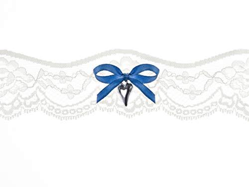 Diari Di Vita Giarrettiera in Pizzo Color Avorio con Fiocco in Raso Blu E Pendente Cuore Argento H 5 CM