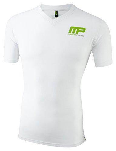 Musclepharm - Mts400 stretto pharm muscolare bianco stampato grande - vee colletto della camicia uomini - bianco, di grandi dimensioni