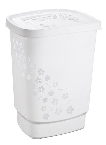 Rotho Wäschesammler Flowers Kunststoff/Plastik (PP) in weiss - Inhalt ca. 55 Liter - diverse Farben auswählbar - (LxBxH) ca. 44.7 x 34.7 x 60.5 cm - Moderner Wäschekorb 1756001100