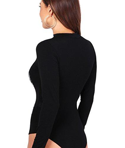 KRISP® Donne Trasparente Top Collo a V Body Leotard Black (4614)