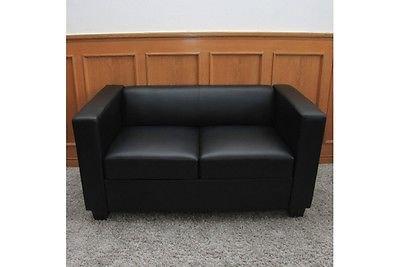 2er Sofa Couch schwarz Spaltleder Sofagarnitur Couchgarnitur Lounge Zweisitzer