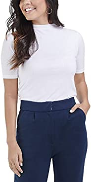 Seek No Further Women's Soft Stretch Elbow Length Mock Neck Ribbed T S