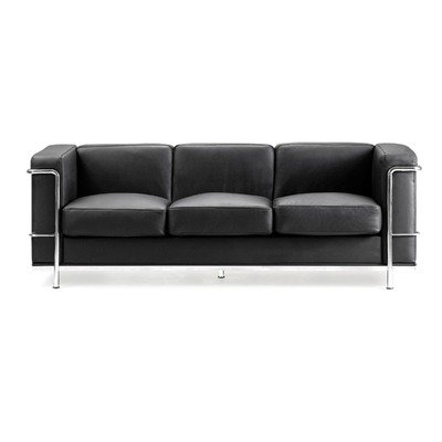 Contemporary leather faced three seater Reception Sofa with chrome details - black
