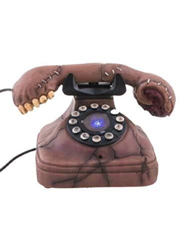 Deko Vintage Horror Telefon mit Geräusch Funktion, Scary Telephone with Sound ideal für Jede Halloween Party / Feier, Braun ()