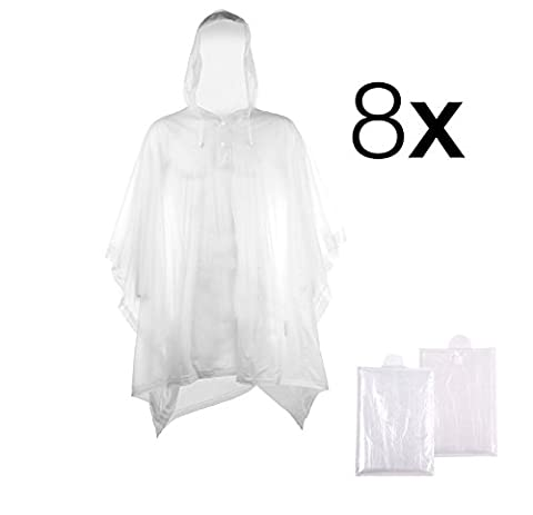 8x rain poncho raincoat waterproof for man and women adult, emergency disposable for festifals, camping, biking