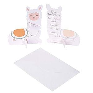 Neviti 776360 Tarjetas de amor de llama, paquete de 10 tarjetas de predicción para bebé, pastel multi, 14.2 x 11.2 x 0.6