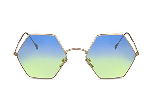 Cheapass Sonnenbrille Hexagon Eckig-er Rahhmen Gold-en Blau Verlaufsglas UV-400 Metall-Rahmen Unisex