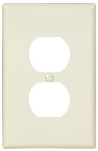 Eaton PJ8LA-CP-L Polycarbonate 1-Gang Duplex Receptacle Mid Size Wall Plate, Light Almond by - Almond Wall Light Plate