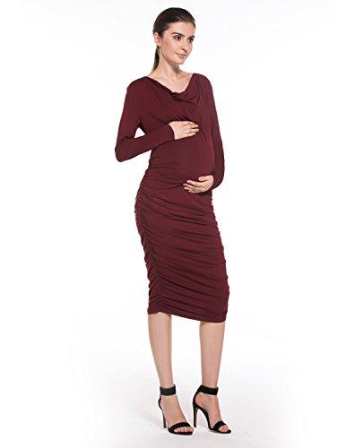 Modetrend Femme Robe de Maternité Nursing Mama Élastique Ruché Manches Longues Dress VinRouge