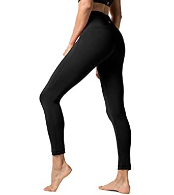 Lapasa Women's Sport Leggings – HIGH WAIST - Yoga Pants - Running Tights - Gym & Workout – With Hidden Pocket- Plus Size & Squat proof type Available - L01 - Black - XS/UK 6-8 / Waist: See chart