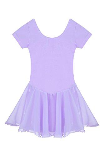 Ceanfly Mädchen Kinder Ballett Tutu Tütü Balletkleid Kindertanzkostüme Trikots Tanz Leotards Kleider, Type3-Lila, Gr. 120(3-4Y)
