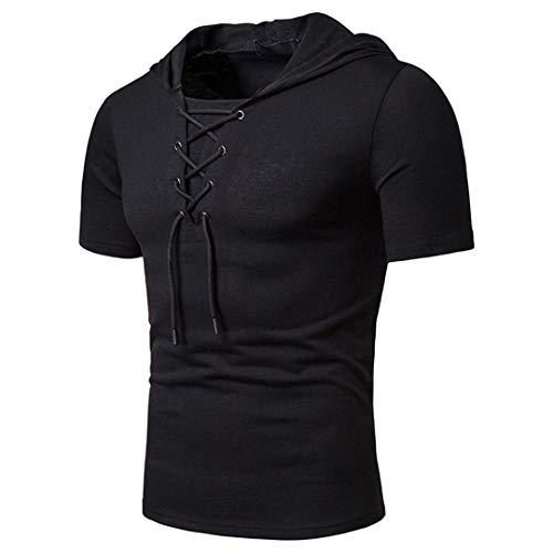 Sommer Baumwoll-T-Shirt Männer Casual Schnürsenkel Design Kurze Ärmel Trends Tops Black L - Dockers-golf-shirt